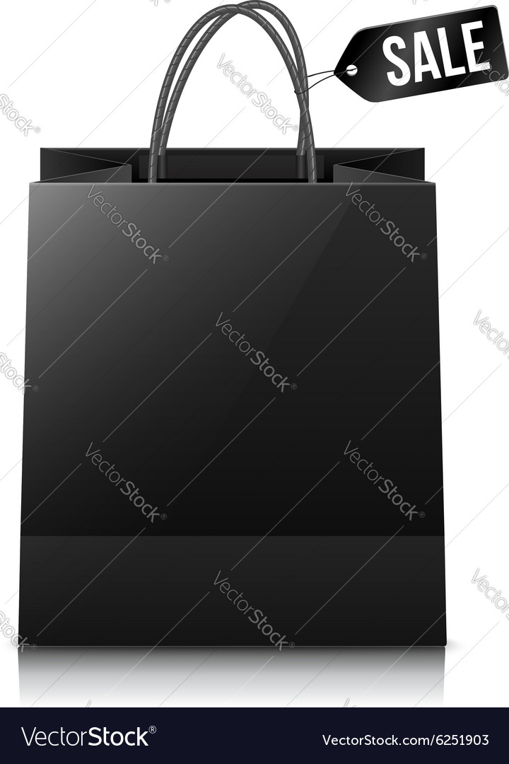 Black shopping bag with sale tag vector