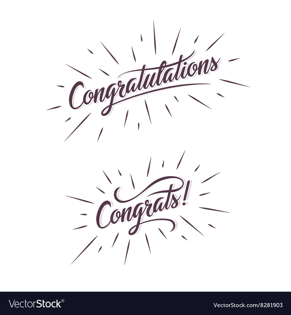 Congratulations hand lettering calligraphic vector