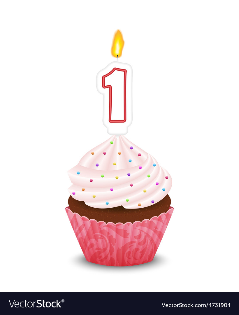 Birthday cupcake with candle in shape of number vector