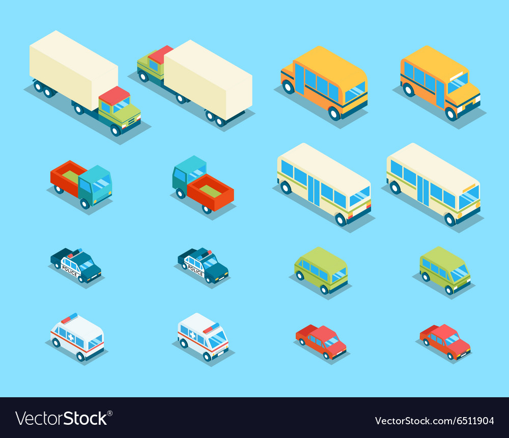 Isometric city transport 3d icons set vector
