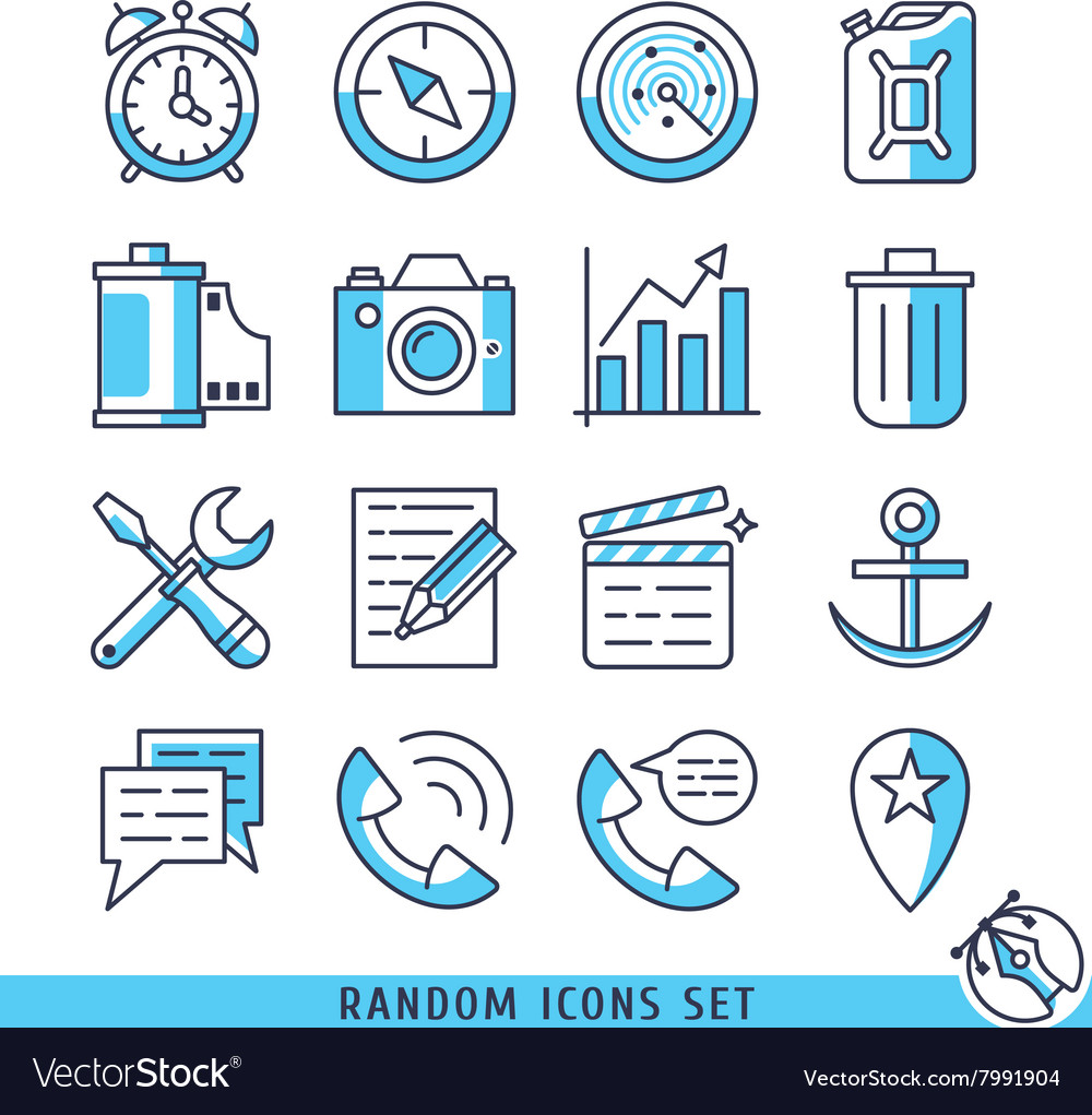 Random icons set vector