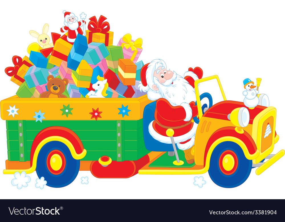 Santa with a christmas gifts vector