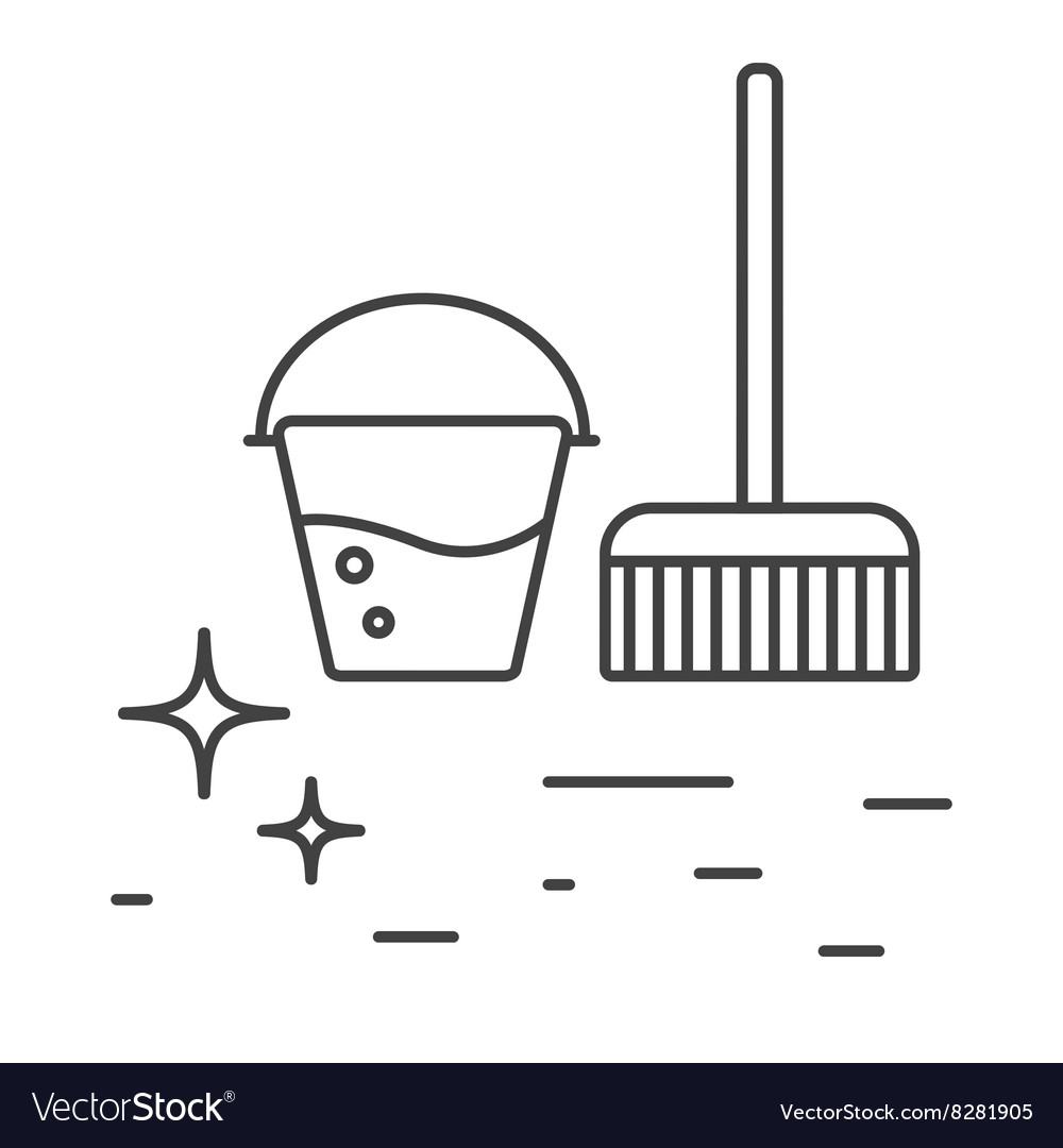 Cleaning tools bucket and mop line icons vector