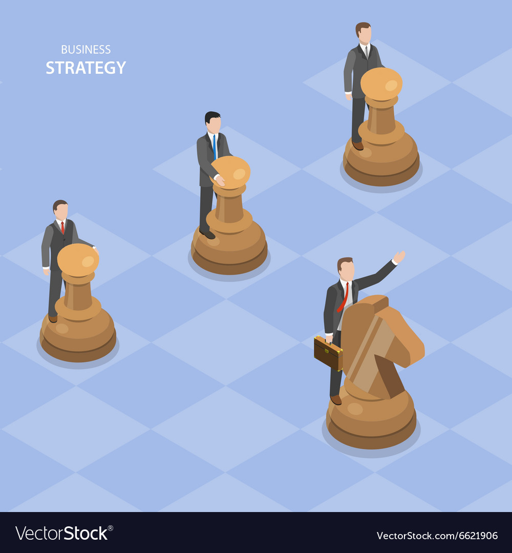 Business stratagy isometric flat concept vector
