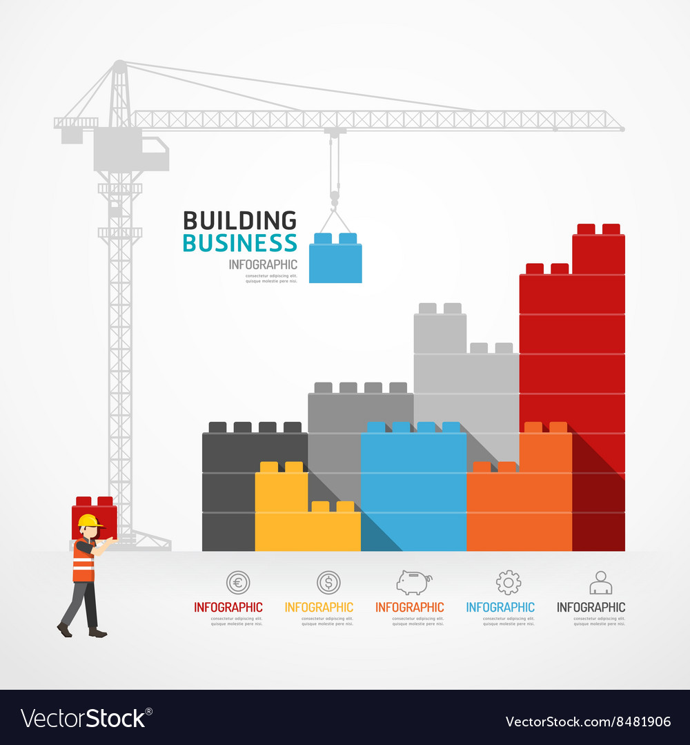 Infographic template with crane building blocks vector