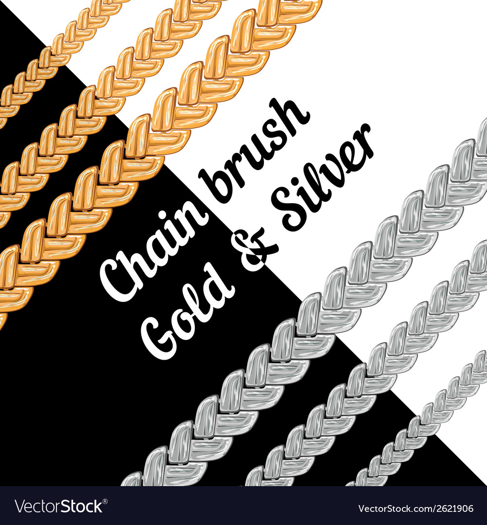 Set of chains metal brushes  gold and silver vector