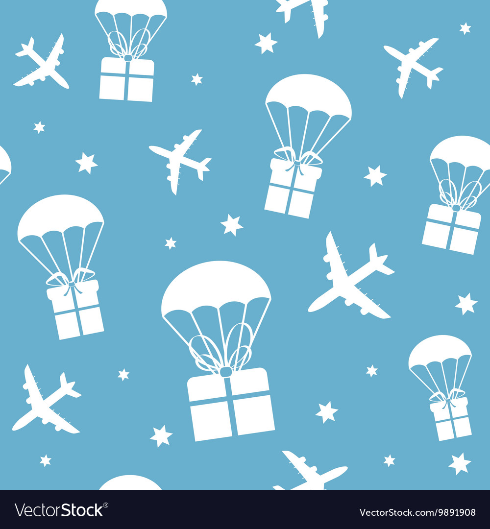 Cartoon airplanes and parachutes with gift boxes vector