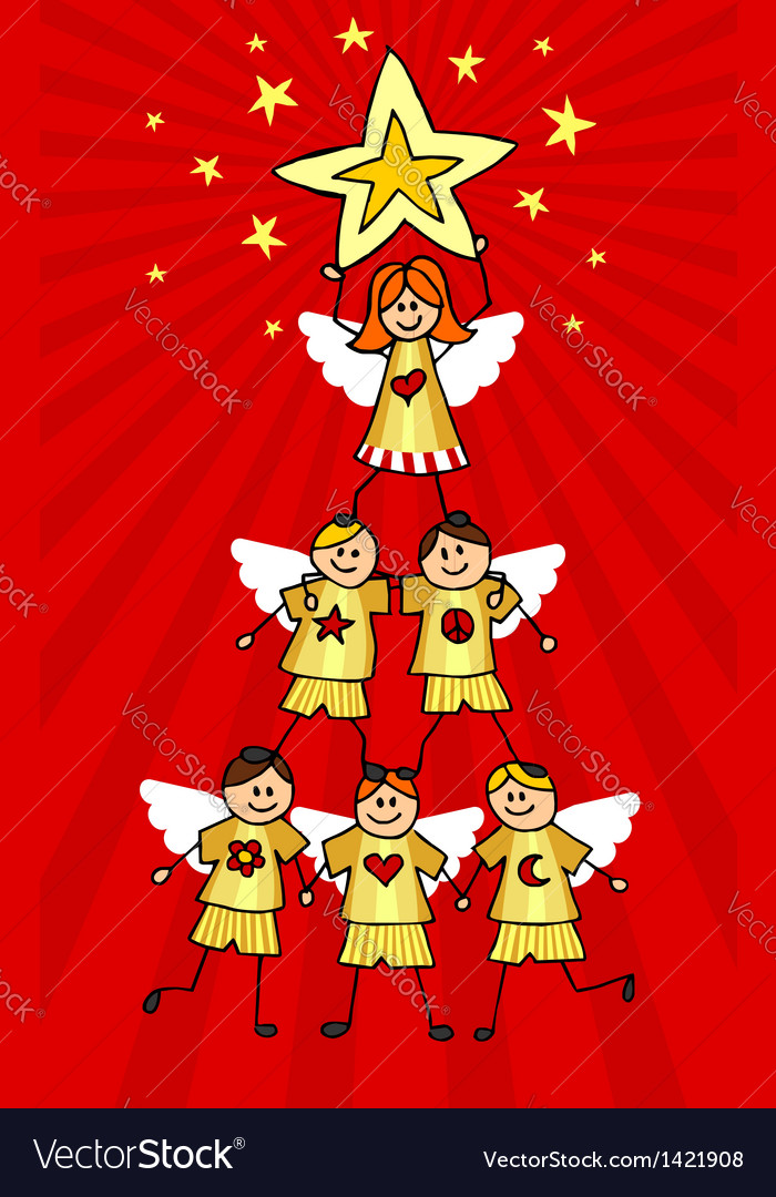 Cherubs christmas tree vector
