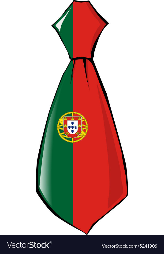 Necktie in national colours of portugal vector