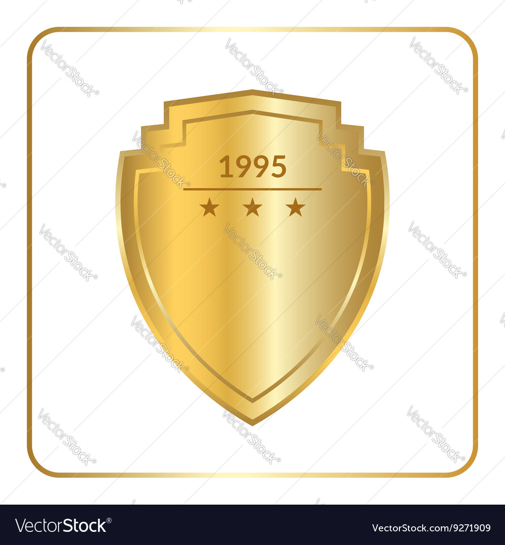 Shield emblem gold white vector