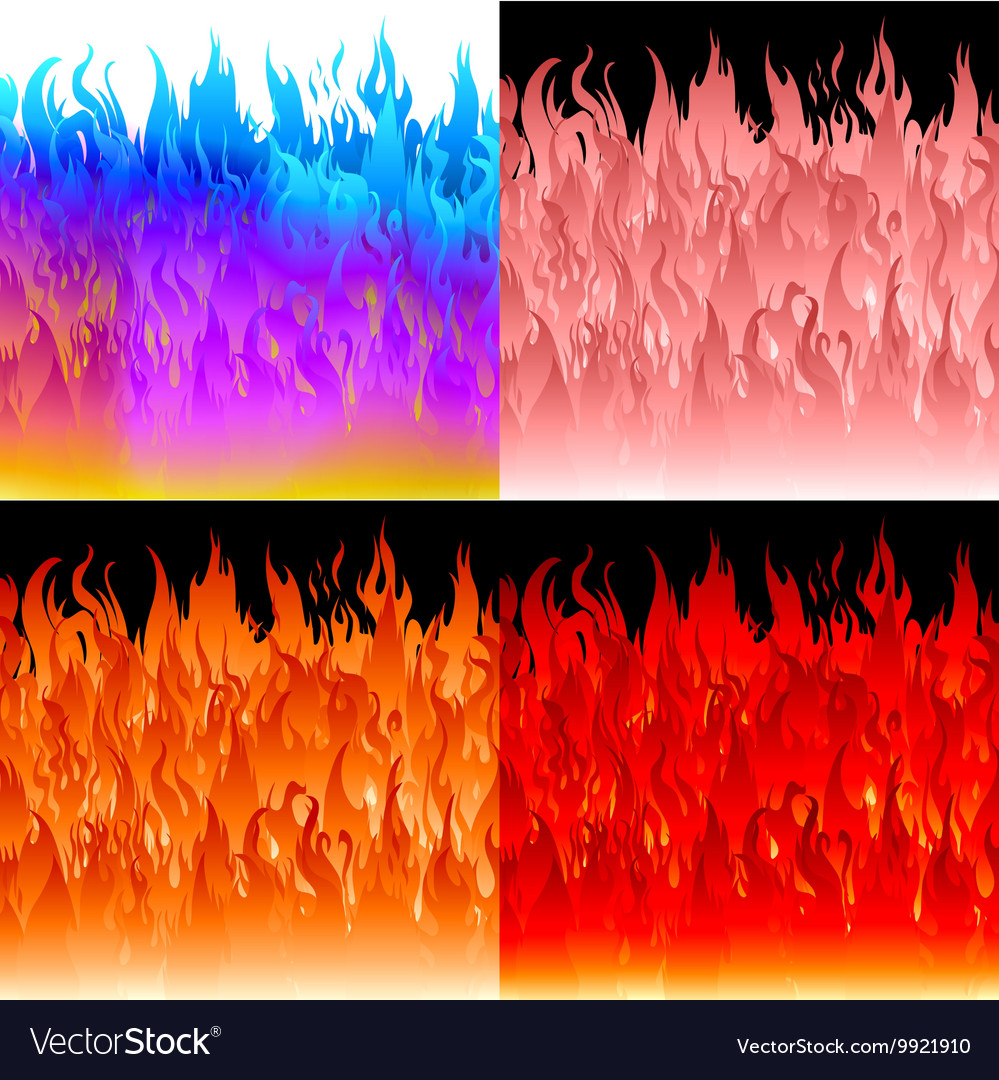 Fire flames background set vector