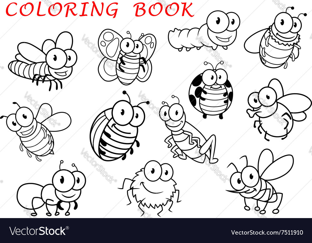 Isolated outline insect animals characters vector