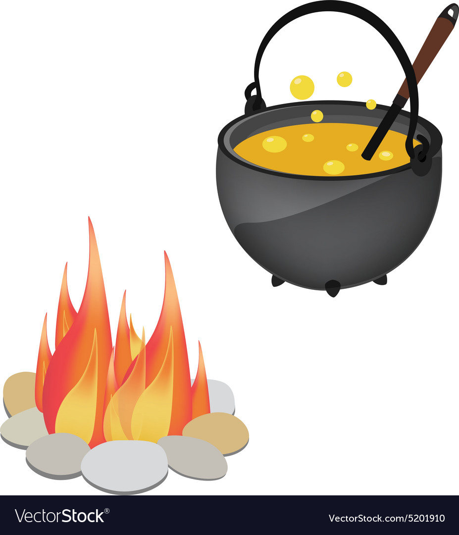 Magic kettle and campfire vector