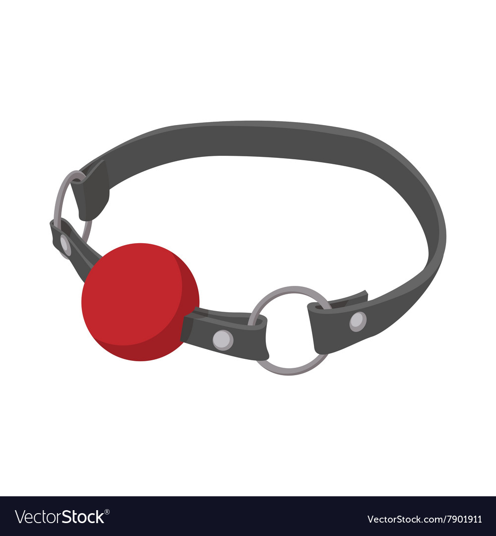 Red ball gag with a belticon icon cartoon style vector