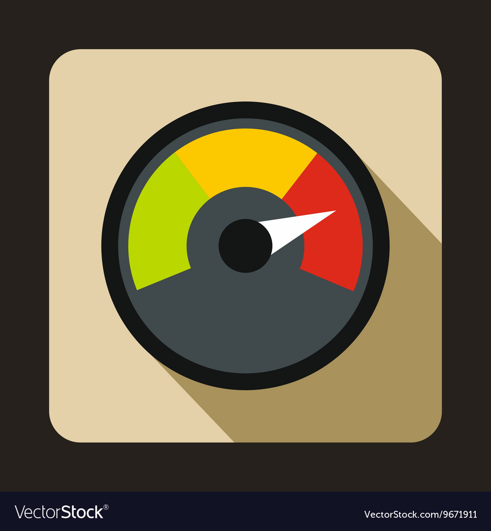 Speedometer at maximum speed icon flat style vector