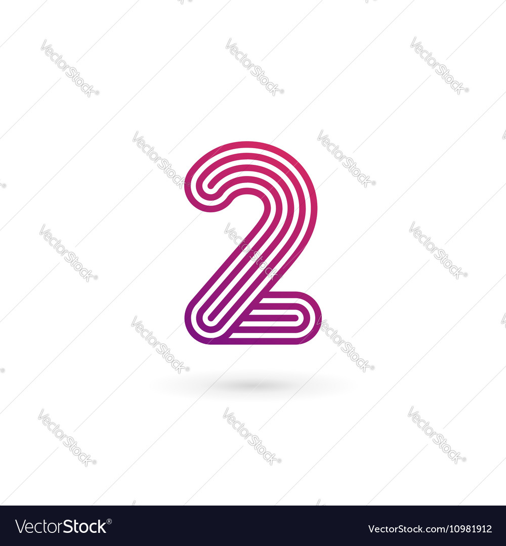 Number 2 logo icon design template elements vector