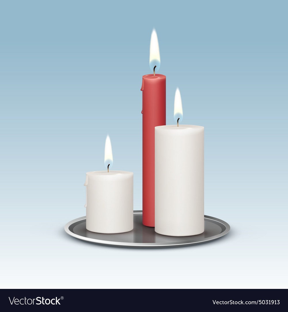 Candles on the metal candlesticks trays vector
