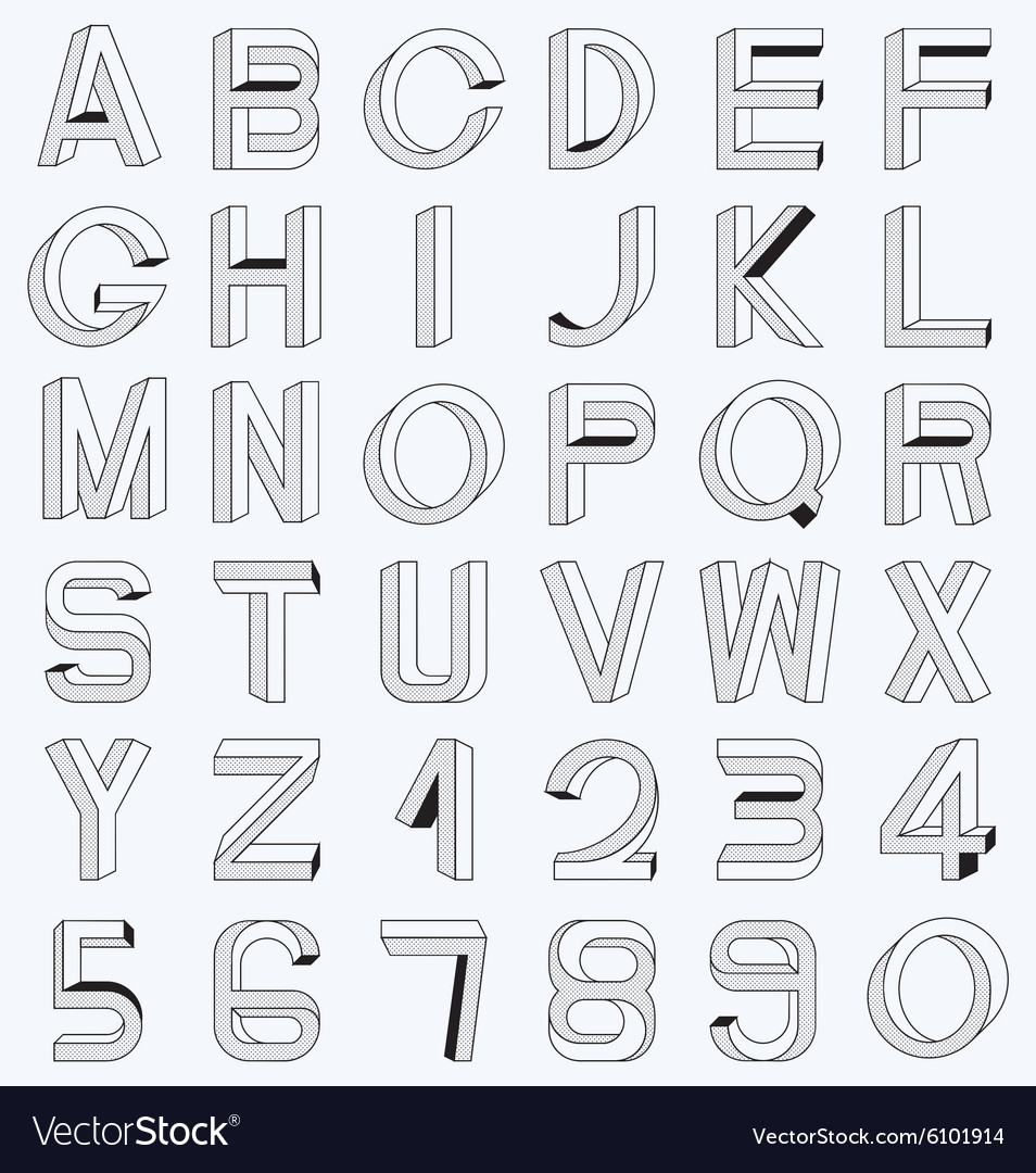 Impossible font set vector
