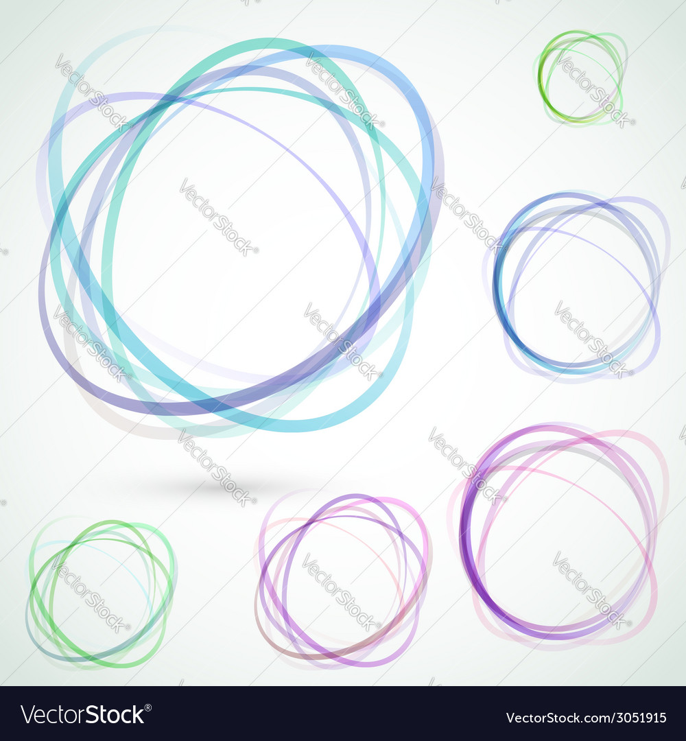 Bright colorful circle design elements set vector