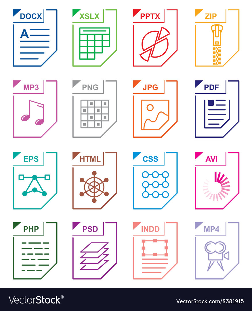 File format set icons vector