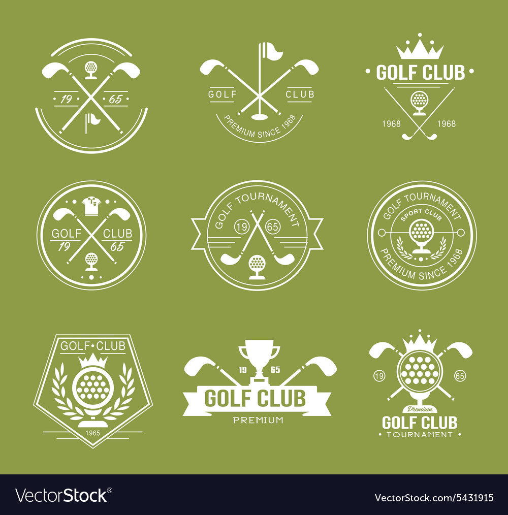 Set of golf club logos labels and emblems vector