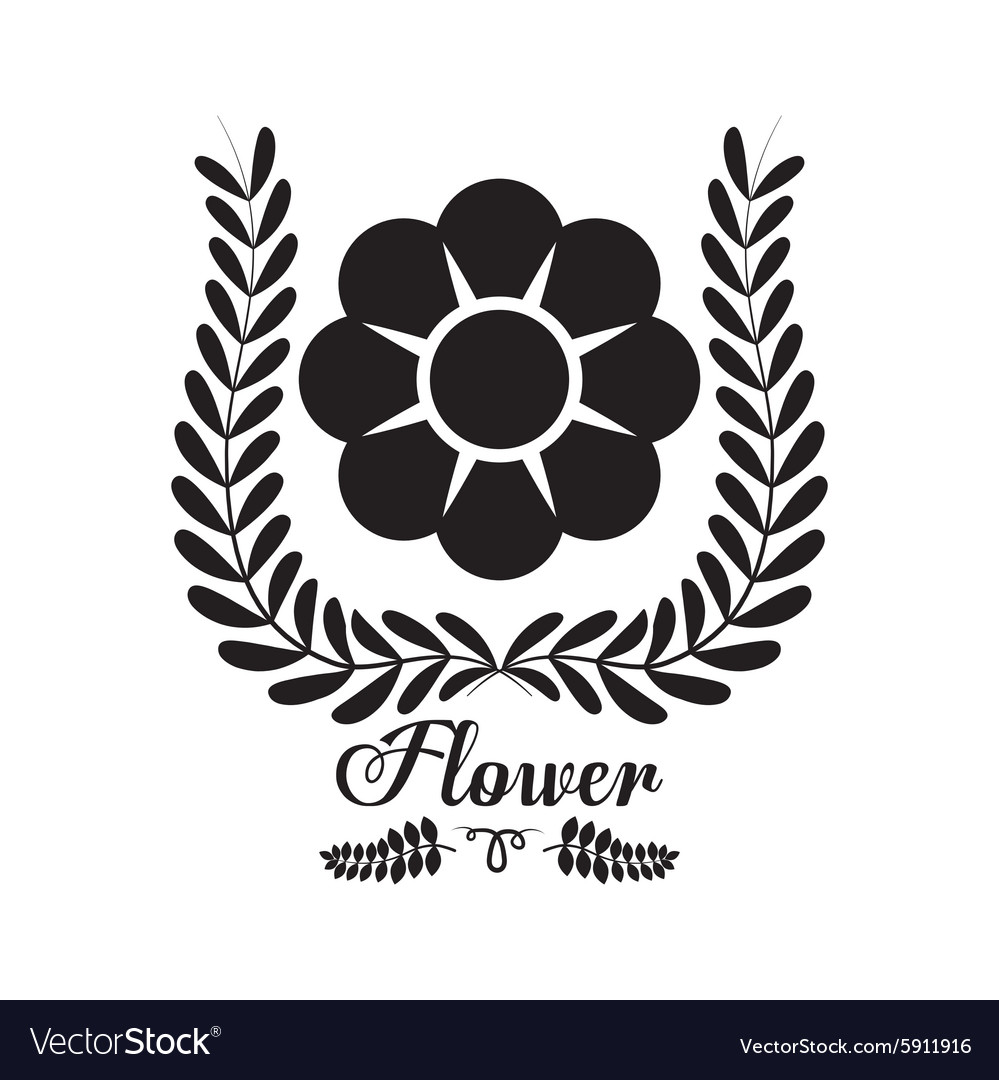Black flower silhouette icon vector