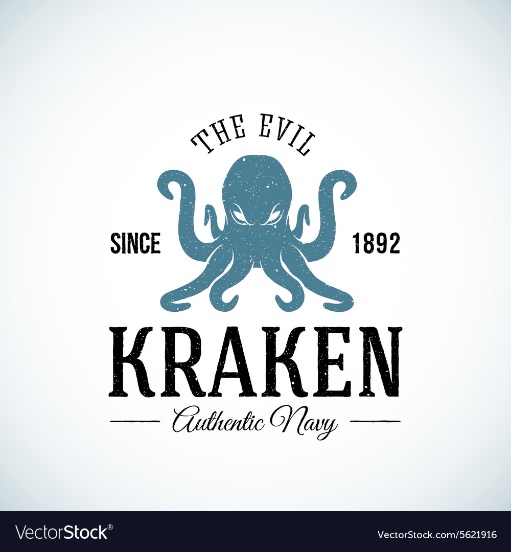 Evil kraken authentic navy abstract vector