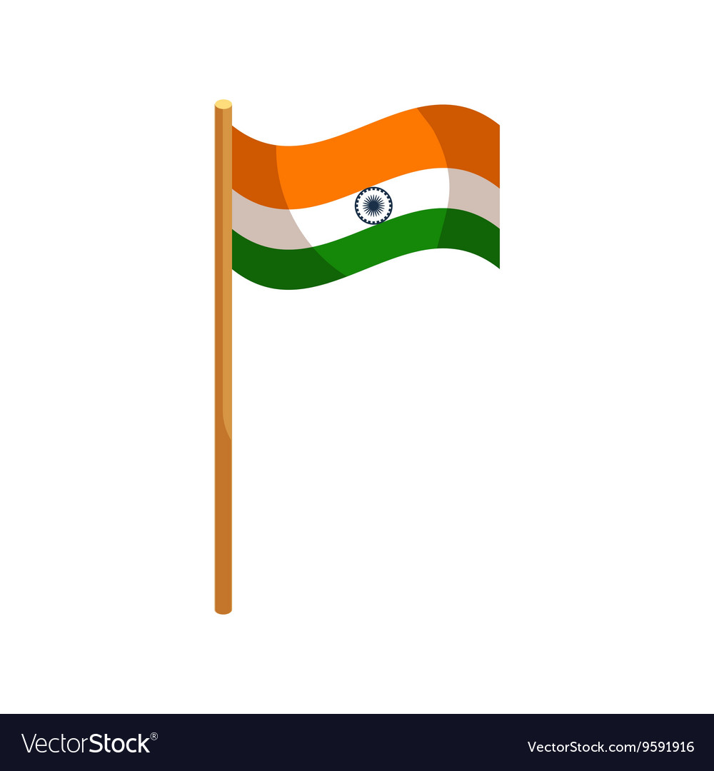 Flag of india icon cartoon style vector