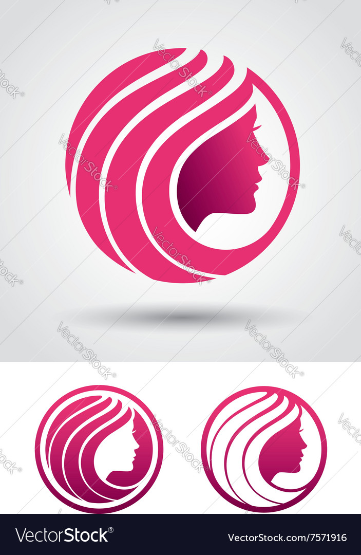 Round woman profile logo vector