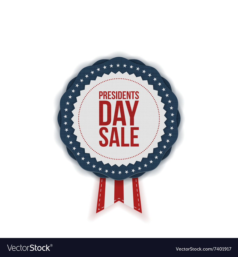 Presidents day sale realistic emblem with ribbon vector