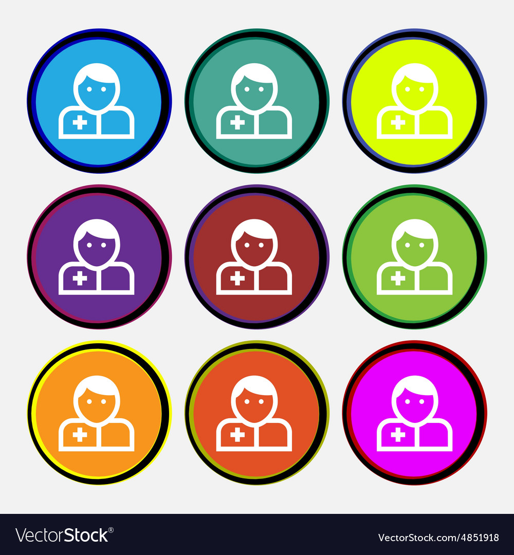 Doctor icon sign nine multicolored round buttons vector