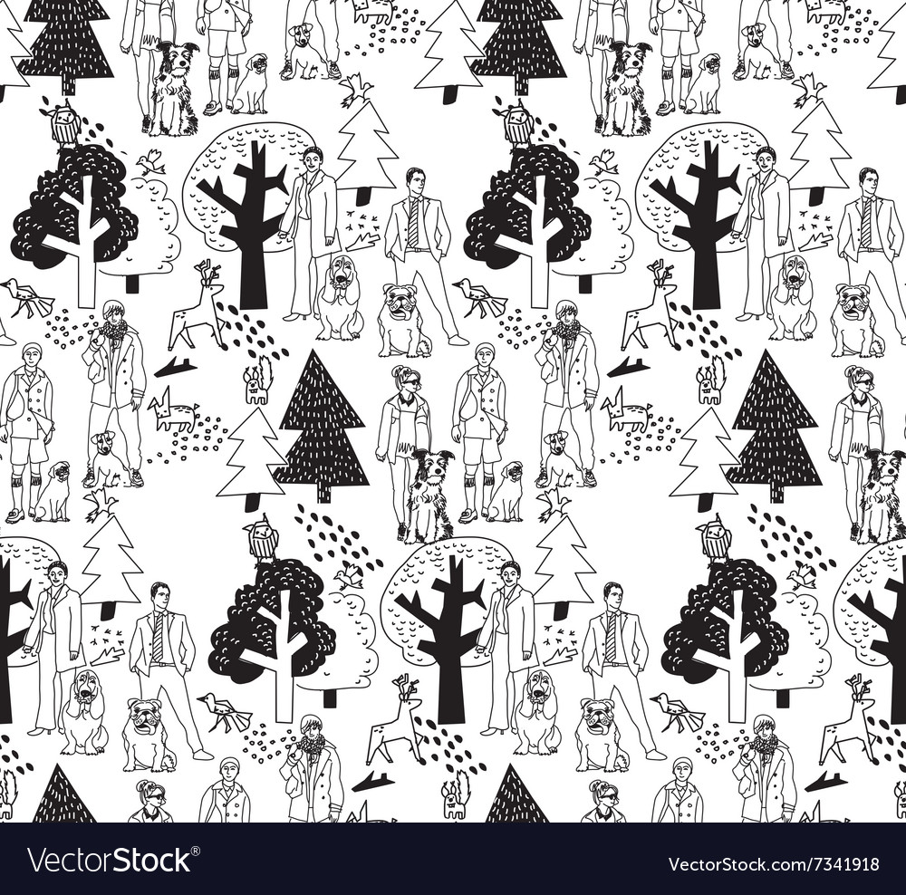 People and pets walking in park seamless pattern vector
