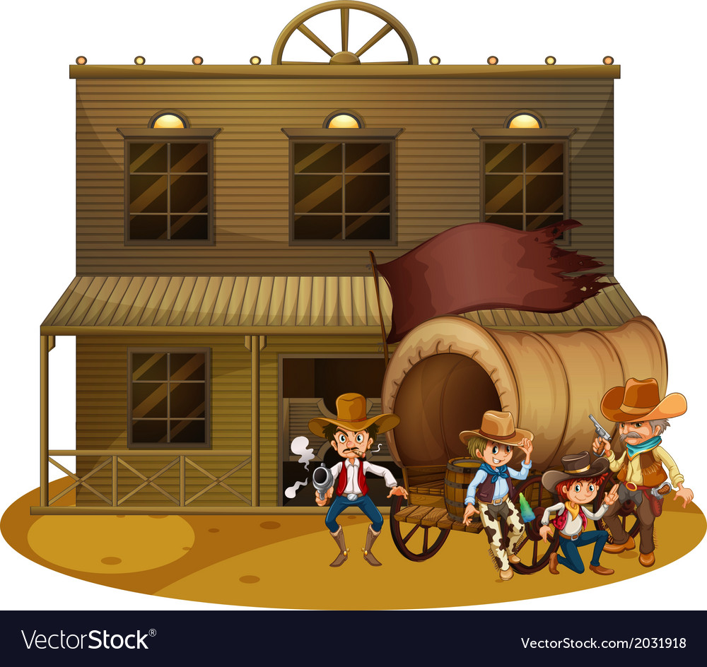 Western people outside the wagon vector