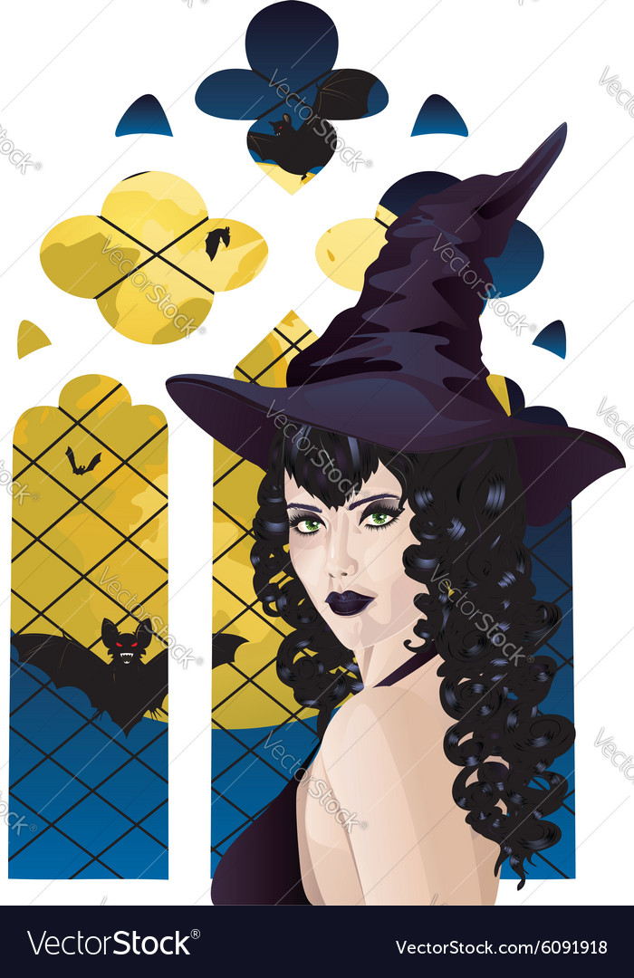 Witch near gothic window vector