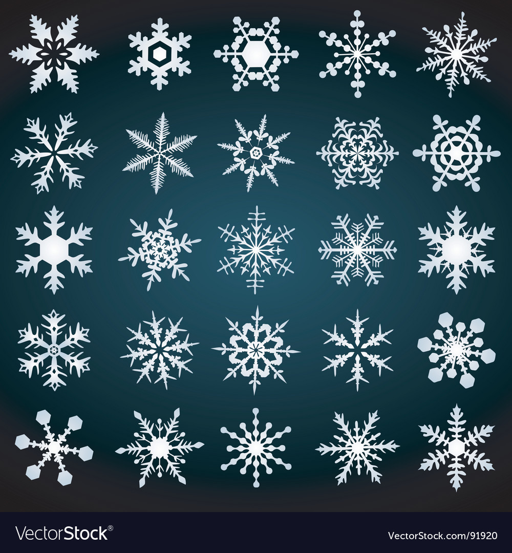 Cold crystal gradient snowflakes set vector