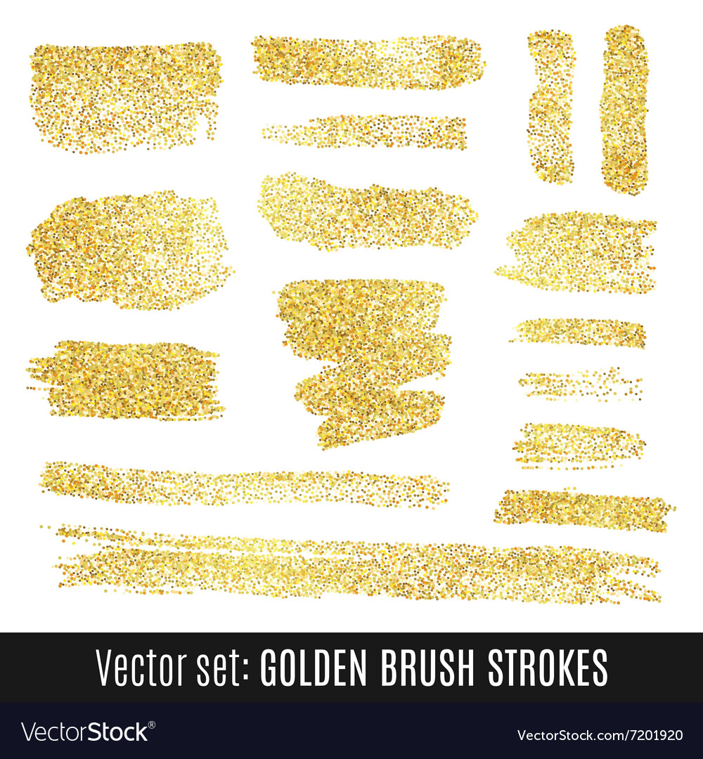 Set of golden watercolor brush stroke isolated on vector