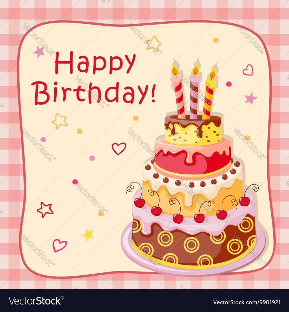 Birthday cartoon card with cake tier vector