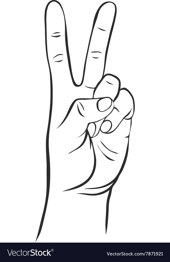 Line drawing hand with two fingers vector