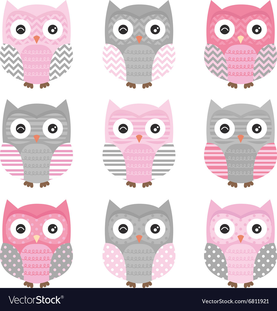 Pink and grey cute owl collections vector