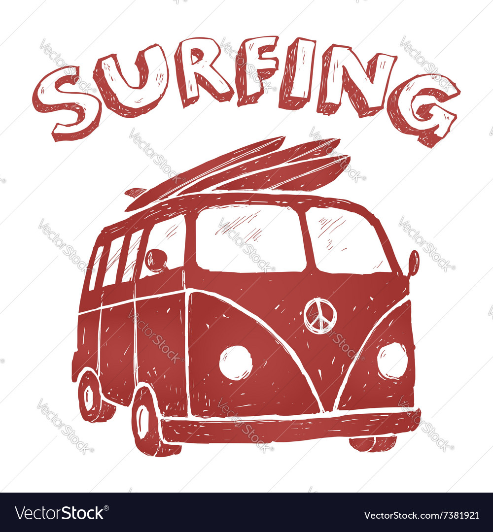 Surf van tshirt graphics vector