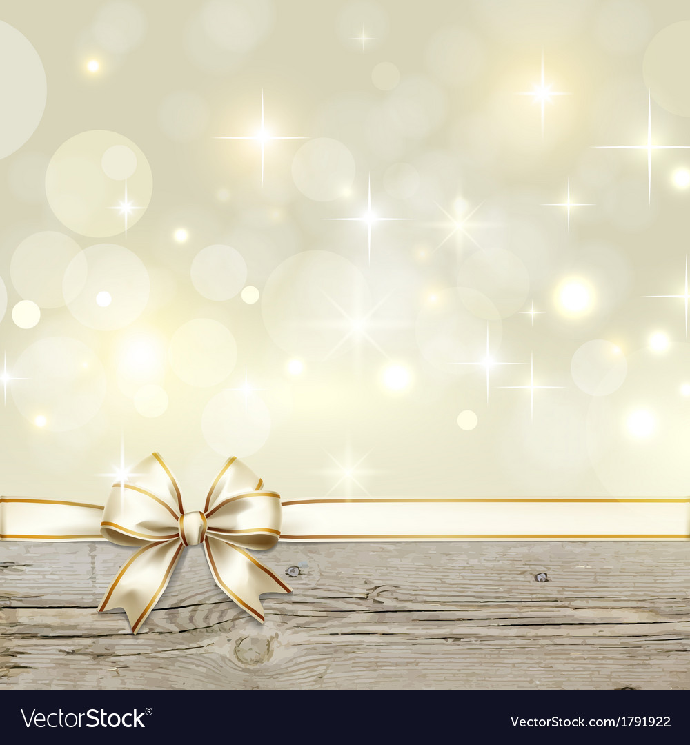 Golden ribbon bow with bokeh christmas decoration vector
