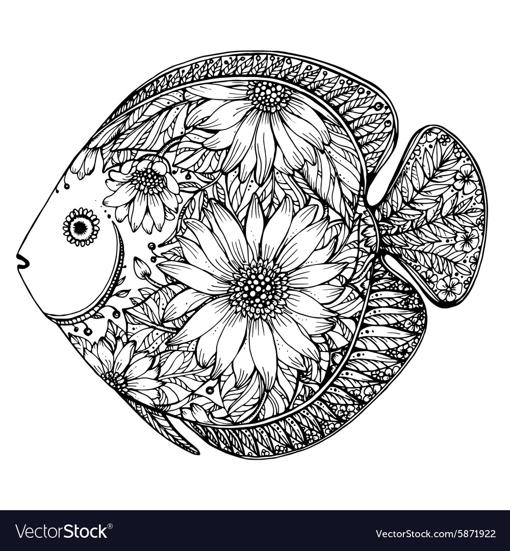 Hand drawn fish with floral elements vector