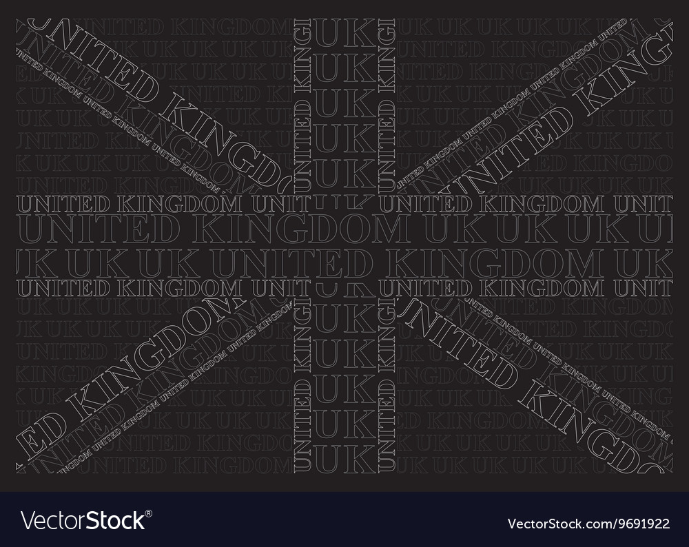 Monochrome united kingdom text flag vector