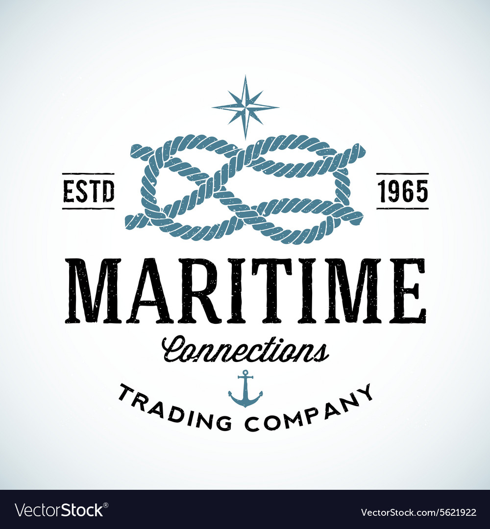 Vintage maritime trading company logo vector