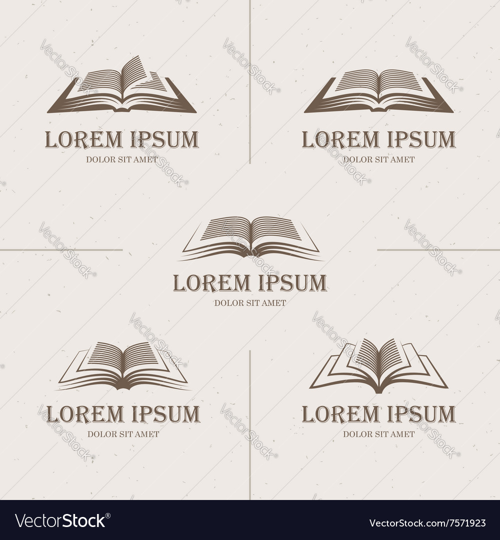 Retro open books vector