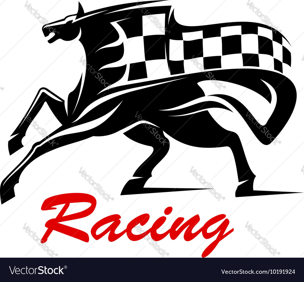Galloping horse with racing flag for sport design vector