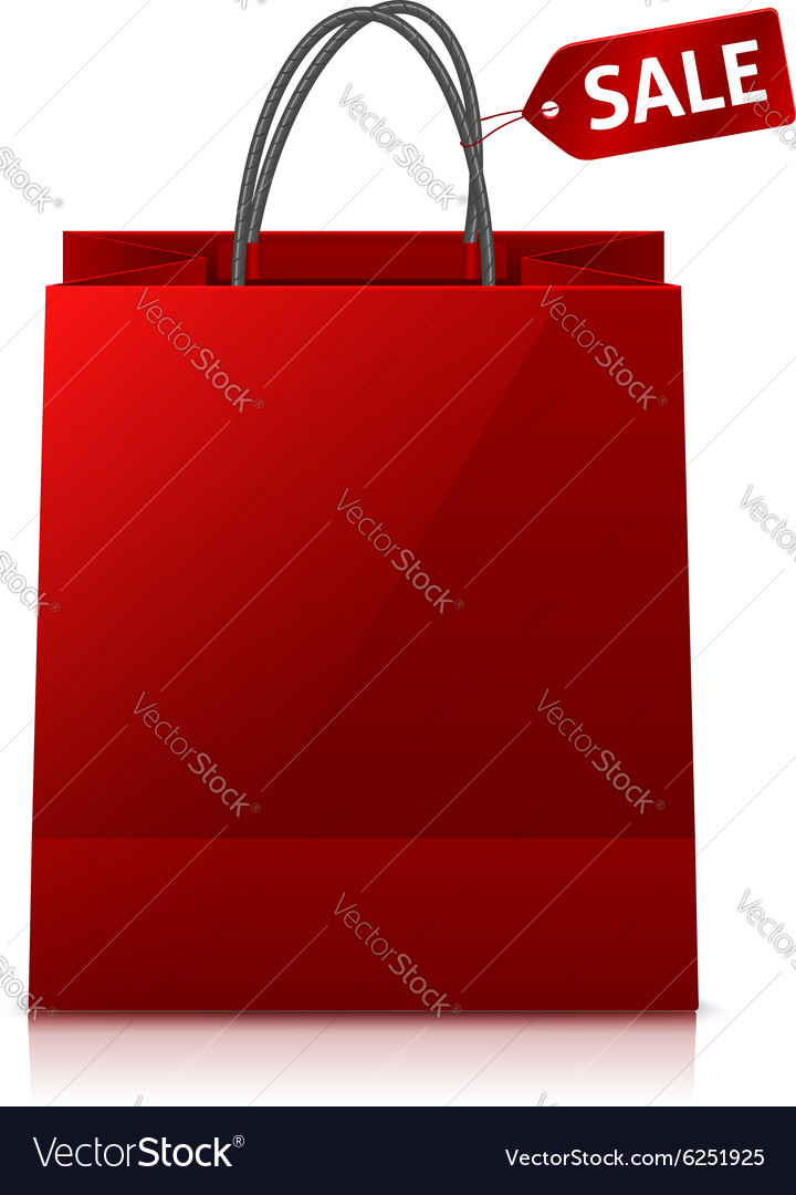 Red glance shopping bag with sale tag vector