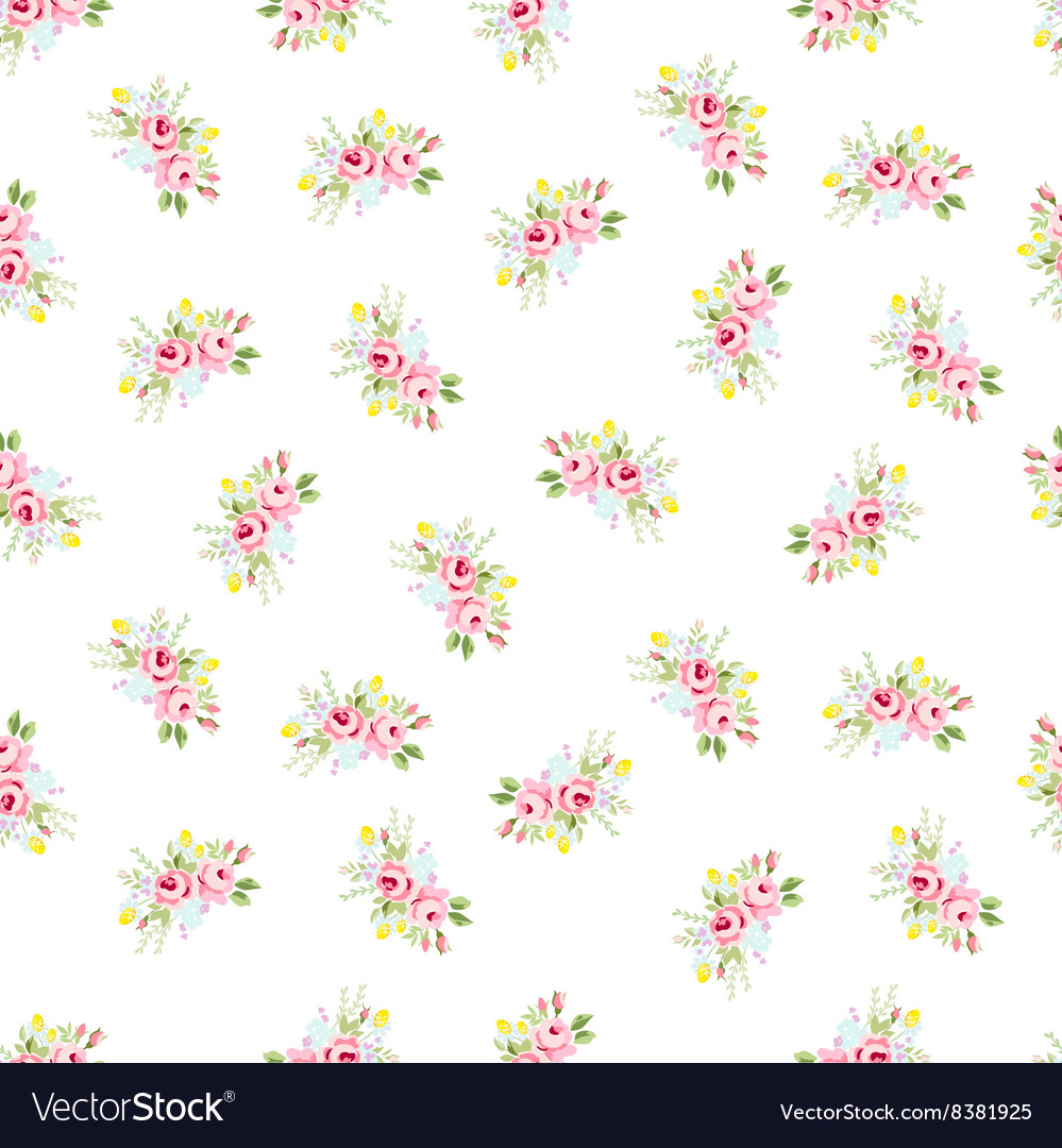 Seamless floral pattern with little red roses vector