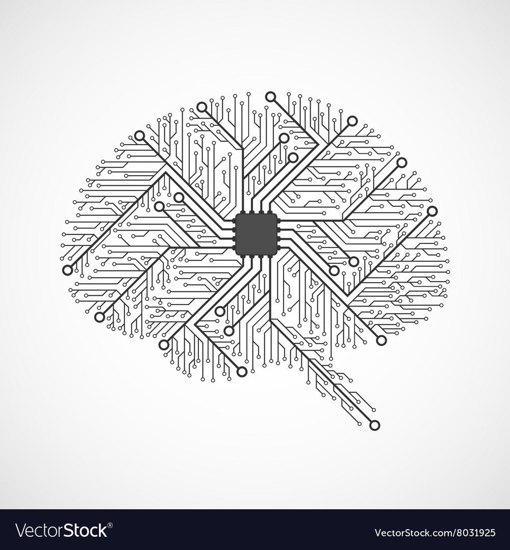 Technological brains circuit board background vector