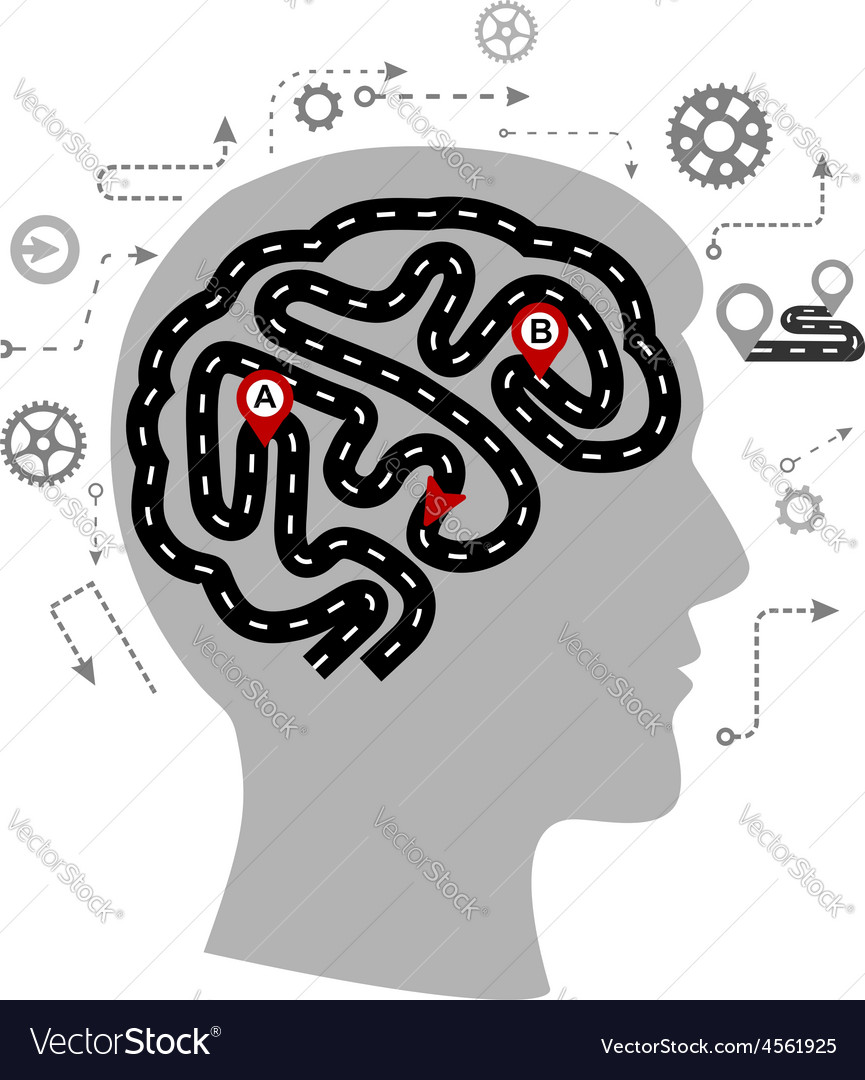 Thought processes of a human brain vector